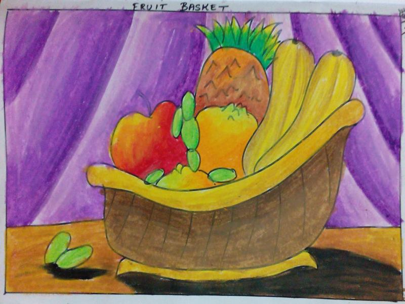 fruit-basket-oil-pastel-meghna-unni