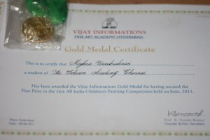 Vijay Informations Fine Arts Academy Gold Medal