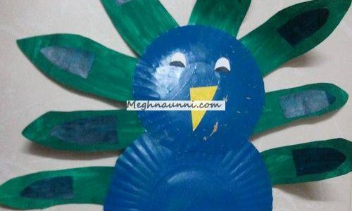 Peacock using paper plate