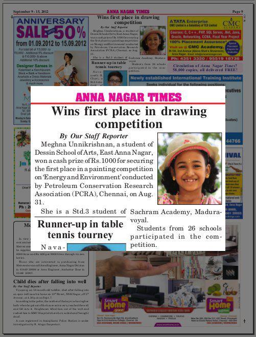 News about Meghna in Anna Nagar Times