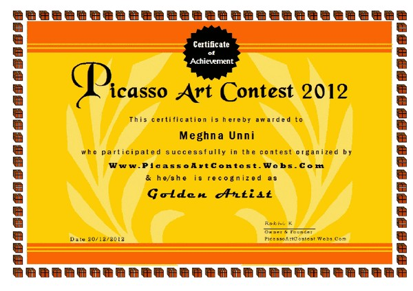 Picasso Art Contest Golden Artist