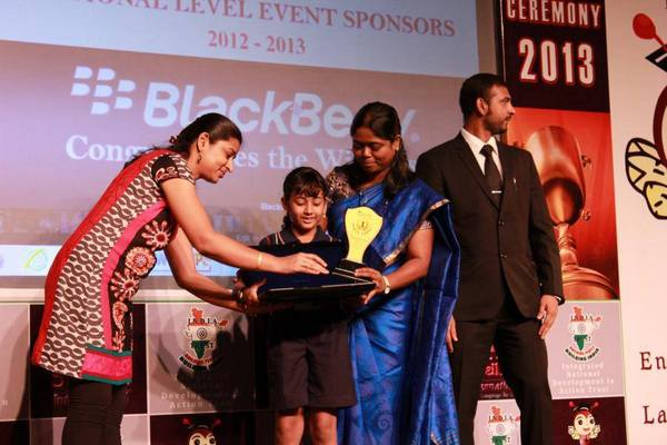 Meghna won a Laptop for Spelling Bee First Place