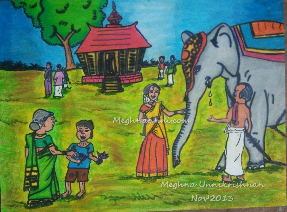 kerala-temple-scene-painting