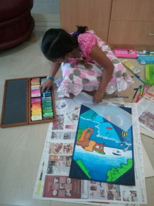Meghna working on her painting at Antony Furniture Drawing Contest 2013