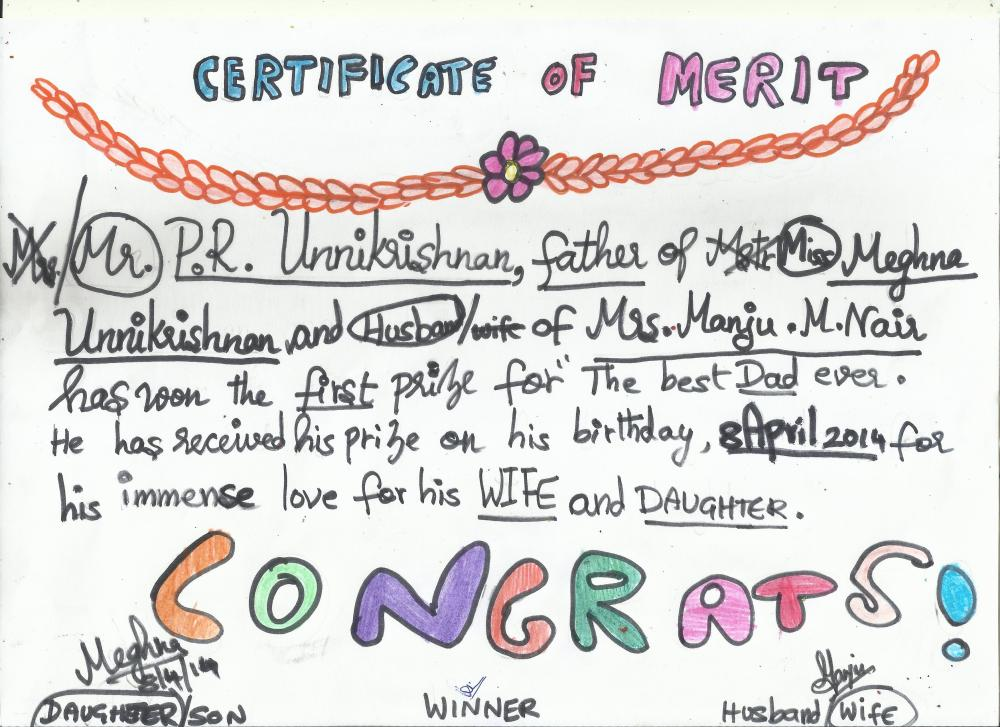 Certificate for my Dad on his Birthday!!!