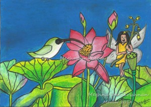 Lotus Fairy Painting by Meghna Unni