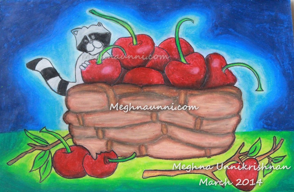 raccoon-ith-cherries-by-meghna-unnikrishnan