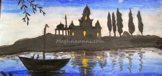 Riverside Temple Night View Painting