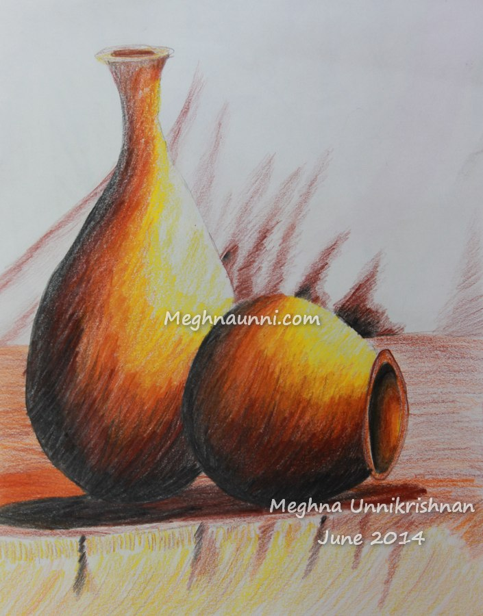 Mud Pots Pencil Color Work