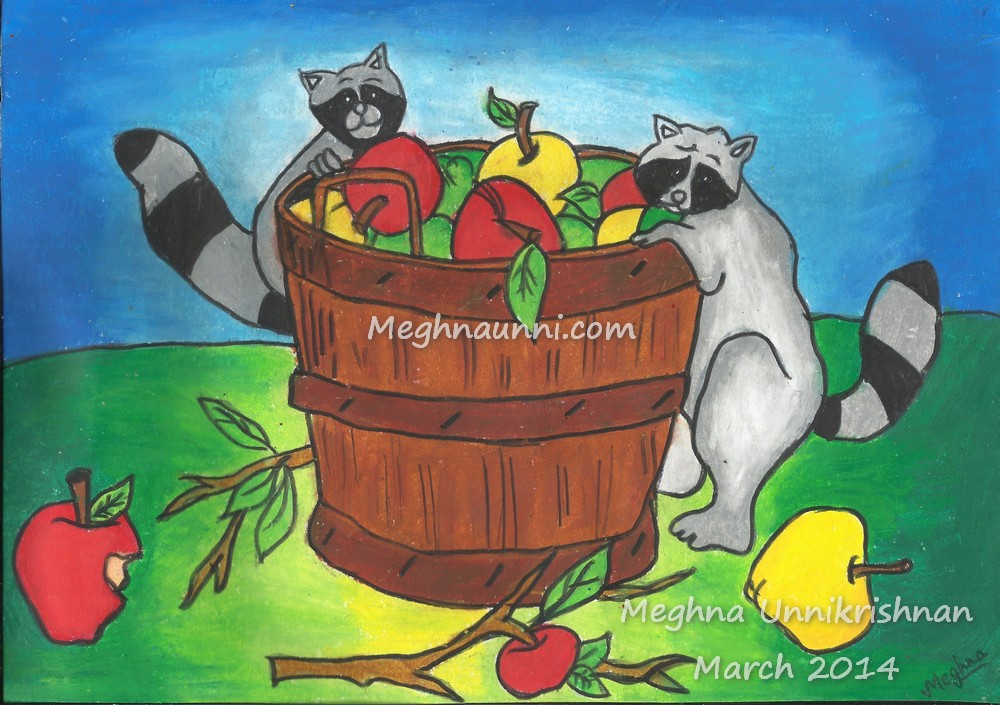 Racoons with an Apple Bucket painting