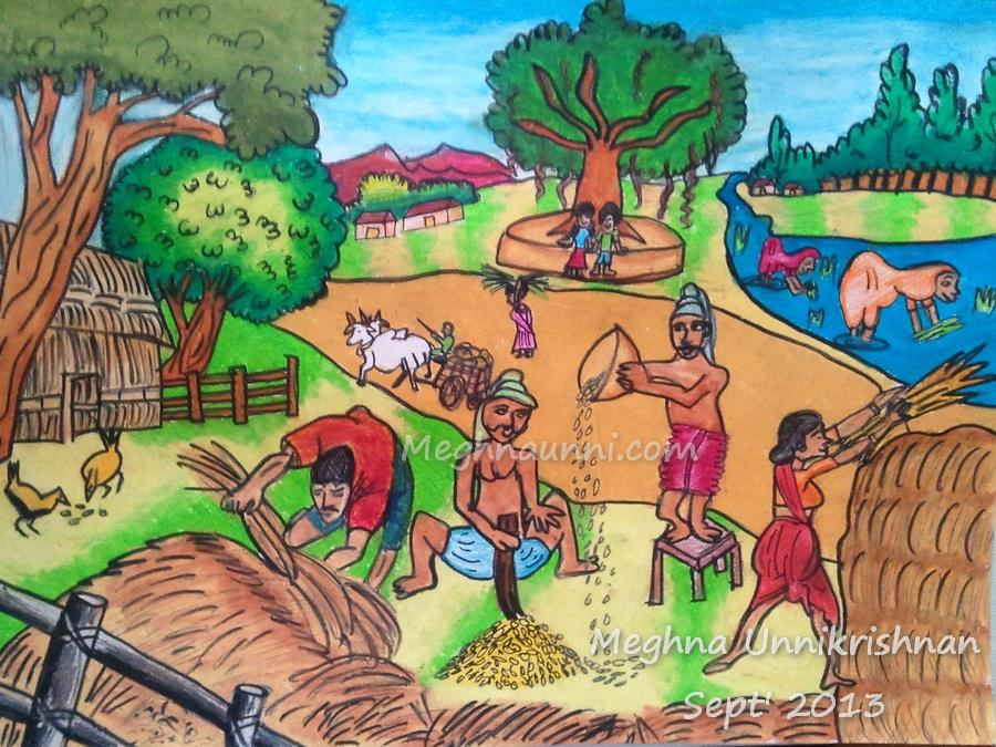 Village Scene Drawing Dessin Academy ...