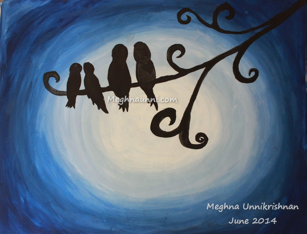 Birds – Night View Poster Colour Painting