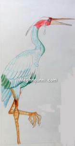 Egret Pencil Colour Drawing