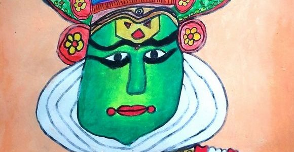 Two Early Paintings – Kathakali Artist & Puppet Show