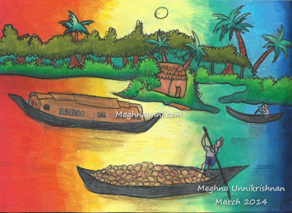 Boat Scenery Drawing Kerala Backwater Scenery
