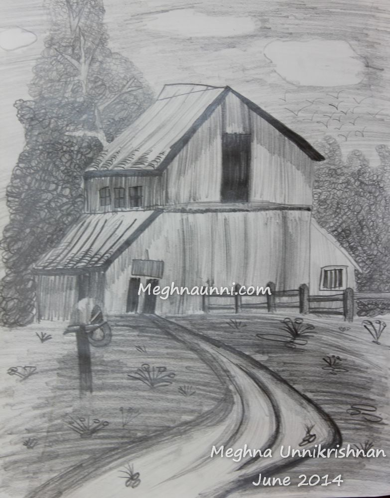 Village House Pencil Shading Work