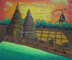Mahabalipuram Shore Temple Painting