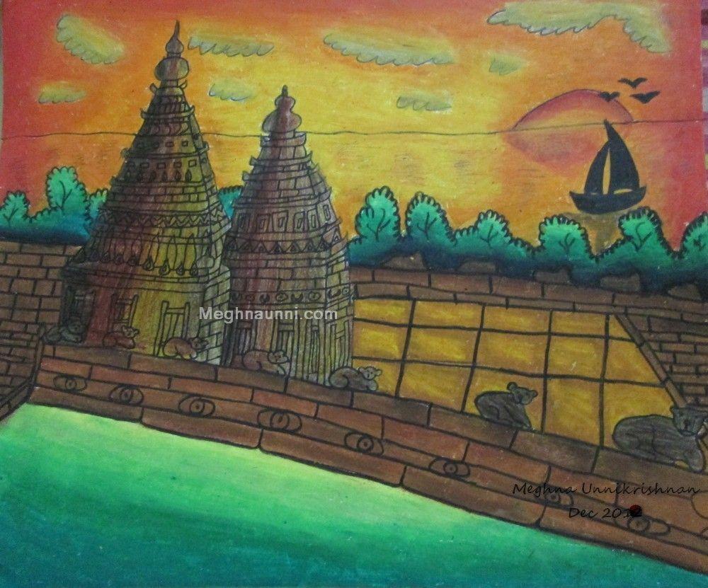 Mahabalipuram Shore Temple Painting