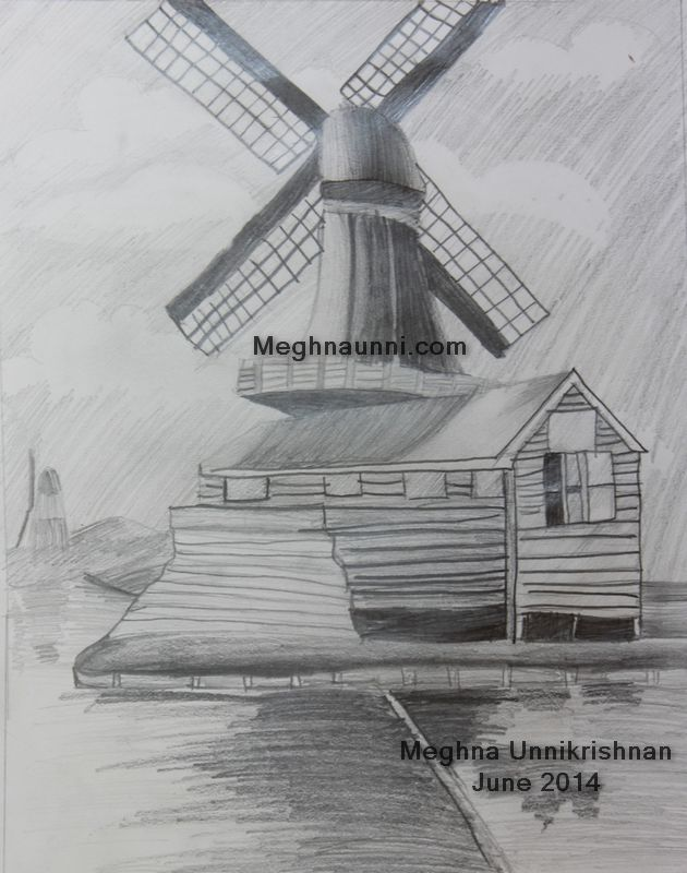 Windmill Pencil Shading Picture