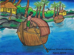 'Man Rowing a Boat' Painting