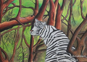 White Tiger in the Forest Painting