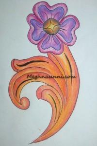 Flower Design using Plastic Crayons