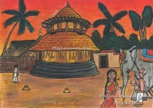 Kerala Temple Evening Scene Painting