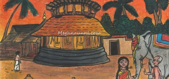 Kerala Temple Evening Scene Painting