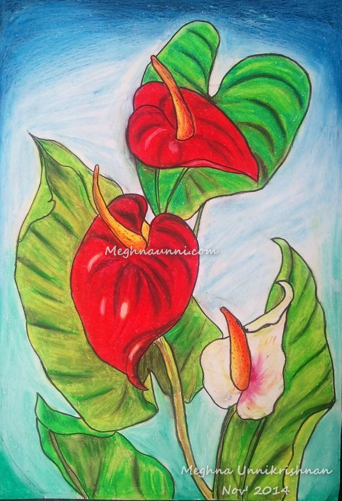 Anthurium Painting using Oil Pastels