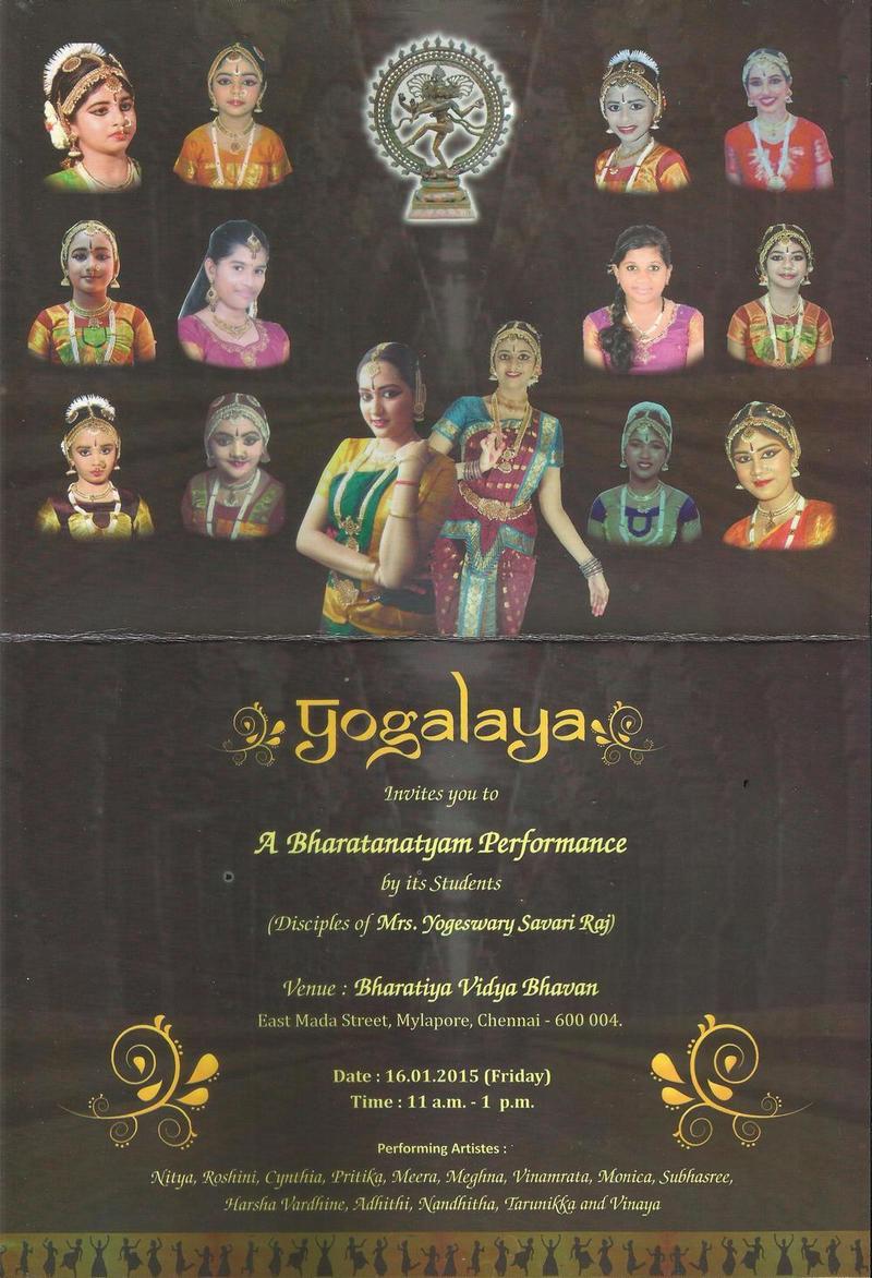 Invitation to Bharathanatyam Recital at Bharatiya Vidya Bhavan Mylapore