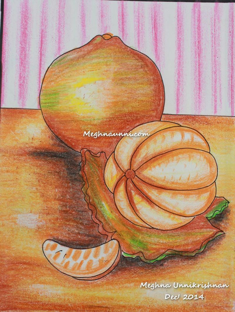 Orange Painting using Plastic Crayons Medium