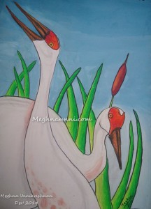 Sandhill Cranes Painting in Mixed Media