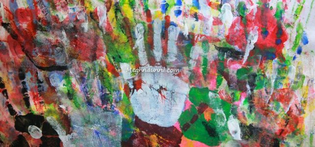 """Hand Prints"" Abstract Painting"