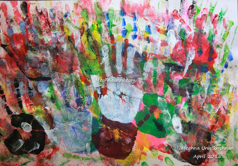 """""""Hand Prints"""" Abstract Painting"""
