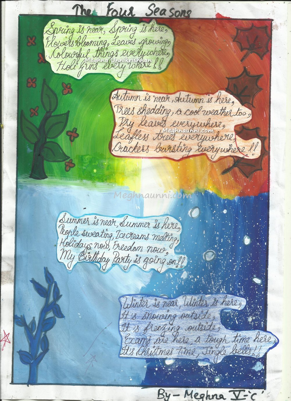 My Poem 'Four Seasons' done for a School Project