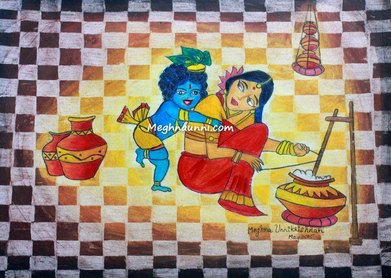 Krishna & Yasodha Painting in Mixed Medium