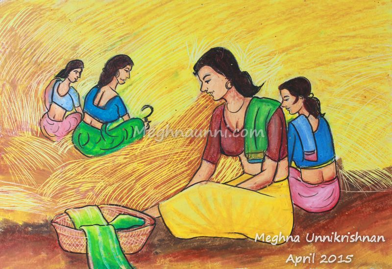'Village Women' Painting done in Oil Pastels