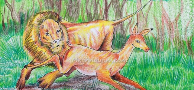 Lion Chasing a Deer Painting – Medium Plastic Crayons