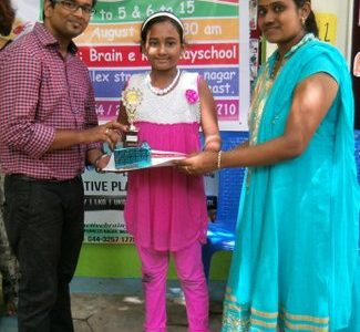 Won 1st Prize in Bank of Baroda, Mogappair Branch Drawing Contest at Brainekids