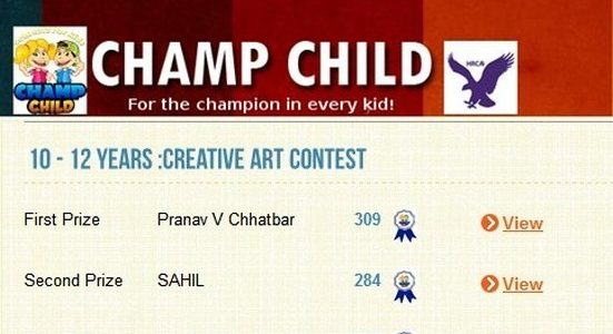 My Champ Child Winnings in Creative Art Contest & Photography Contest