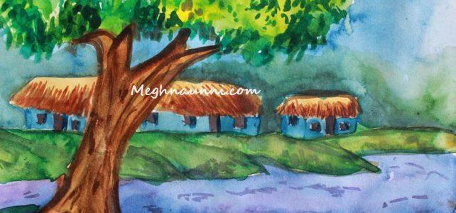 Serene Village Scene – Water Colour Painting