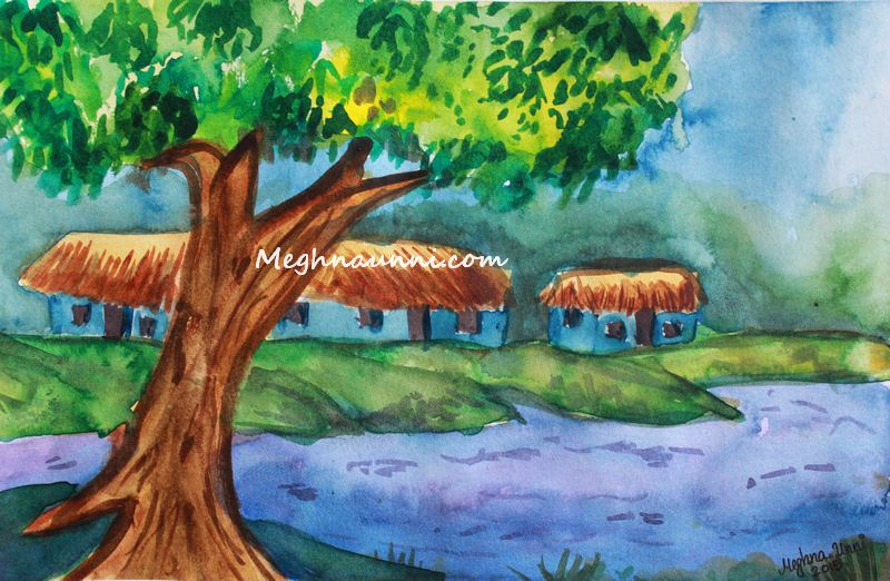 serene village scenery water colour meghna unni - Colour Painting For Kids