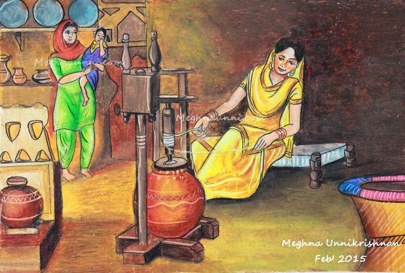 Woman at Work in a Village Kitchen Painting