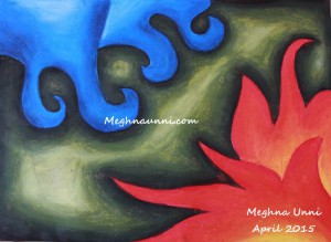 Fire and Water – Elements of Earth Painting done by me