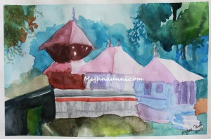 Kerala Temple Water Colour Painting