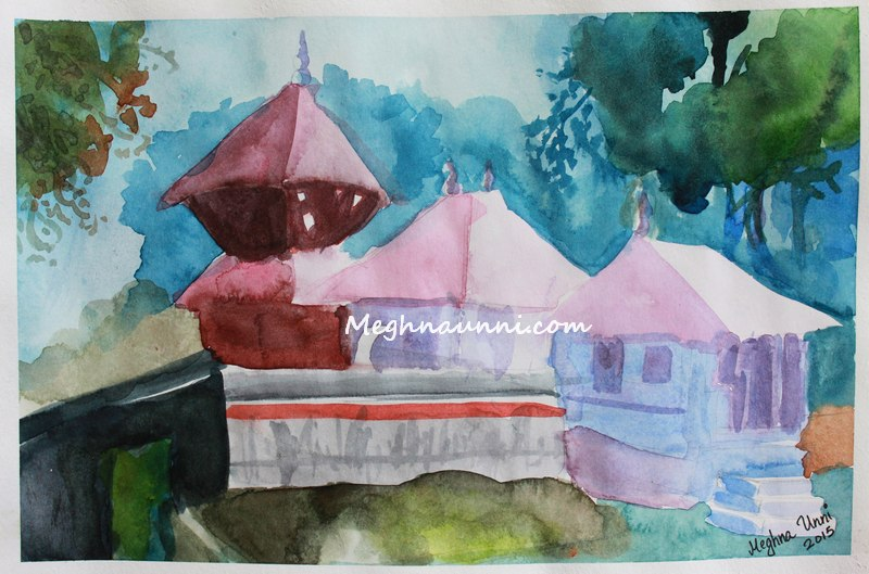 kerala-temple-water-colour-painting