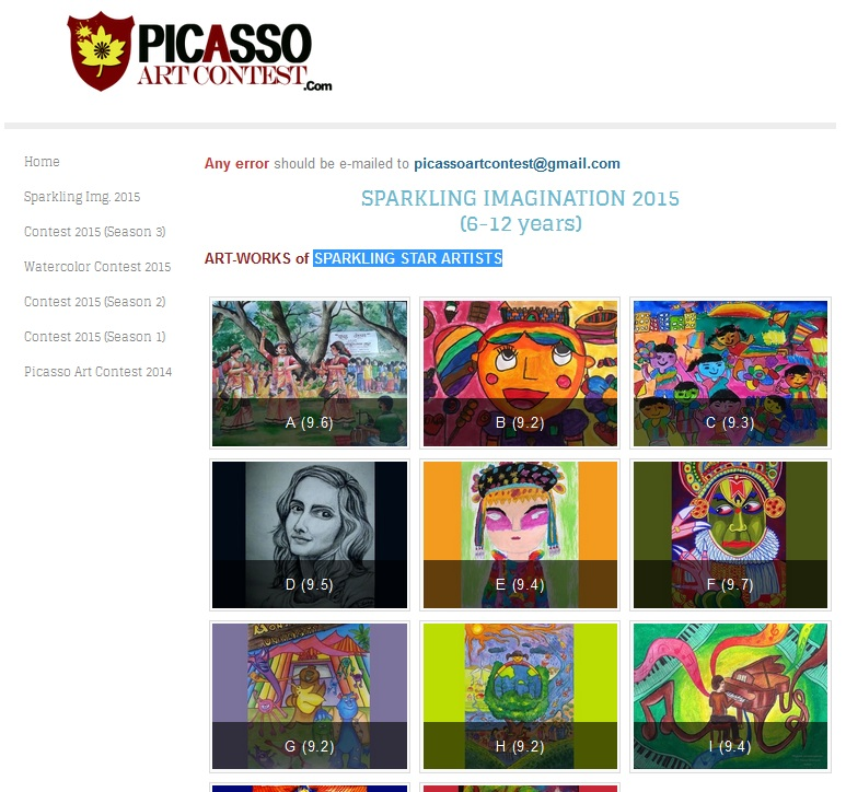 Picasso Art Contest – Sparkling Imagination Contest 2015