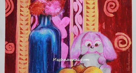 Teddy Bear & Bottle Still Life Painting in Oil Pastels