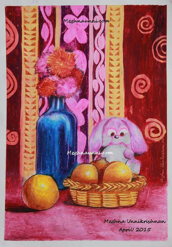 teddy-bear-and-bottle-still-life-painting-by-meghna-unni