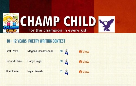 Champchild Poetry Contest Aug 2015 – First Prize